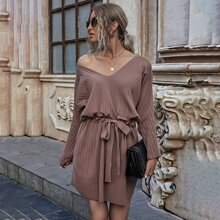 V-neck Batwing Sleeve Drawstring Longline Sweater