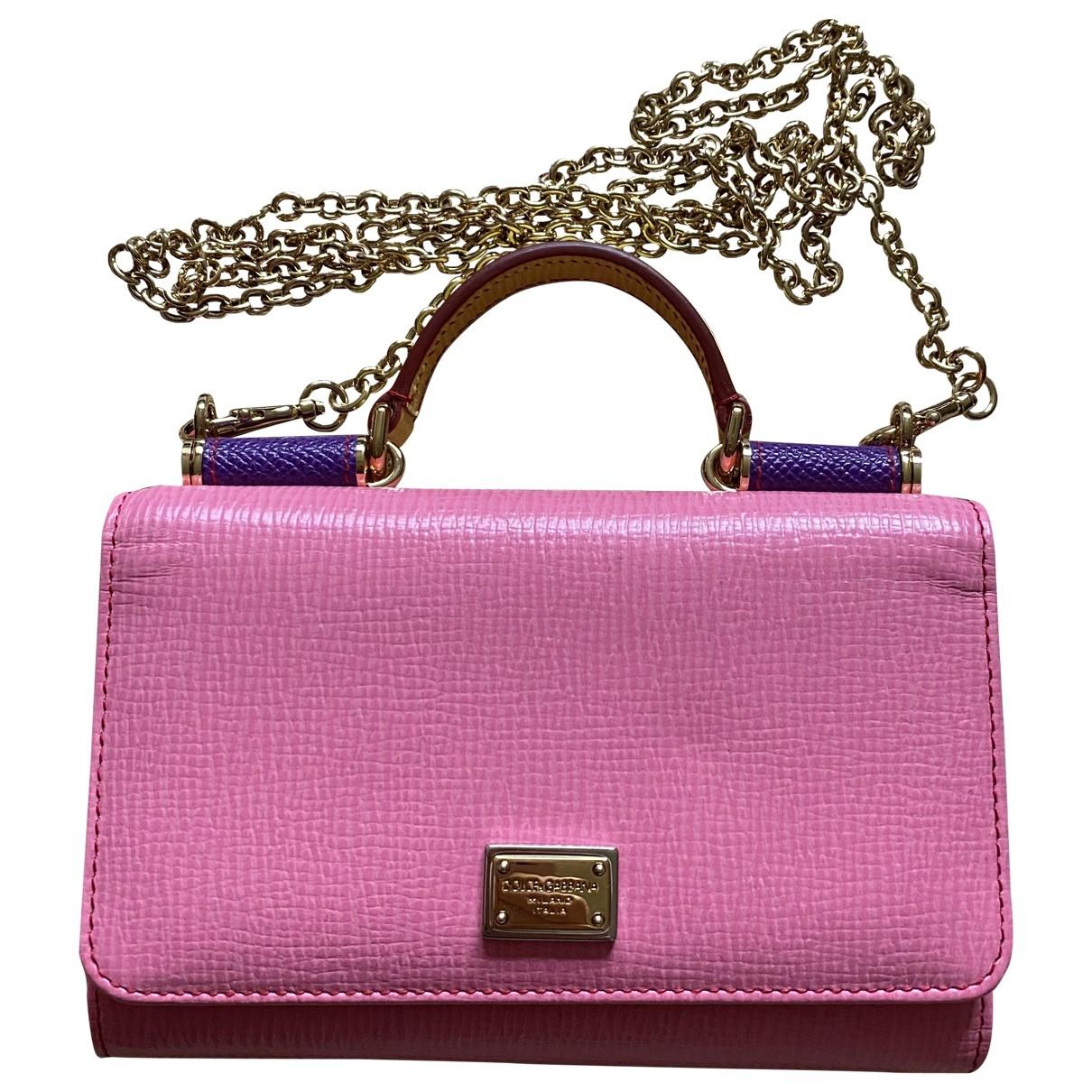 Dolce & Gabbana Sicily Clutch in  Rosa Leder