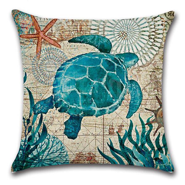 Sea Turtle Seahorse Whale Octopus Cushion Hold Pillowcase Cushion Cover Bags Home Car Decor