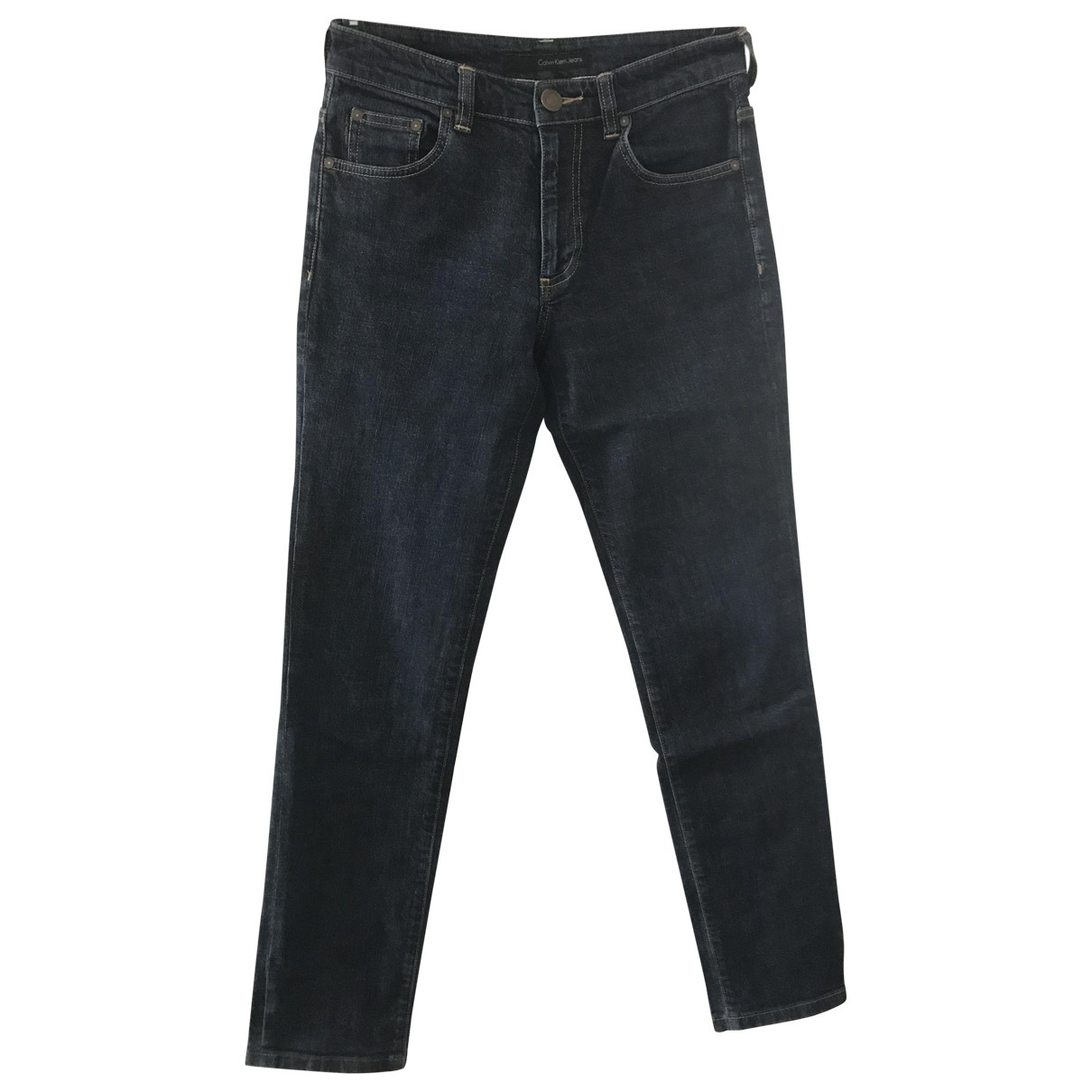 Calvin Klein \N Navy Cotton - elasthane Jeans for Women 28 US
