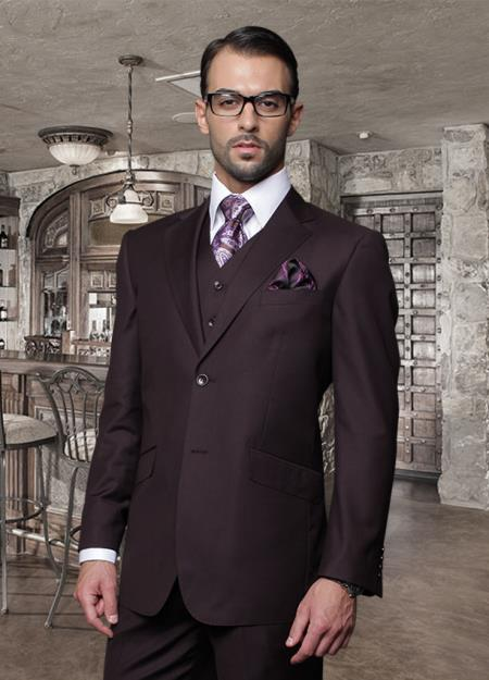 3PC 2 Button Plum Suit Supers Pick Stitched lapel Italian Fabric