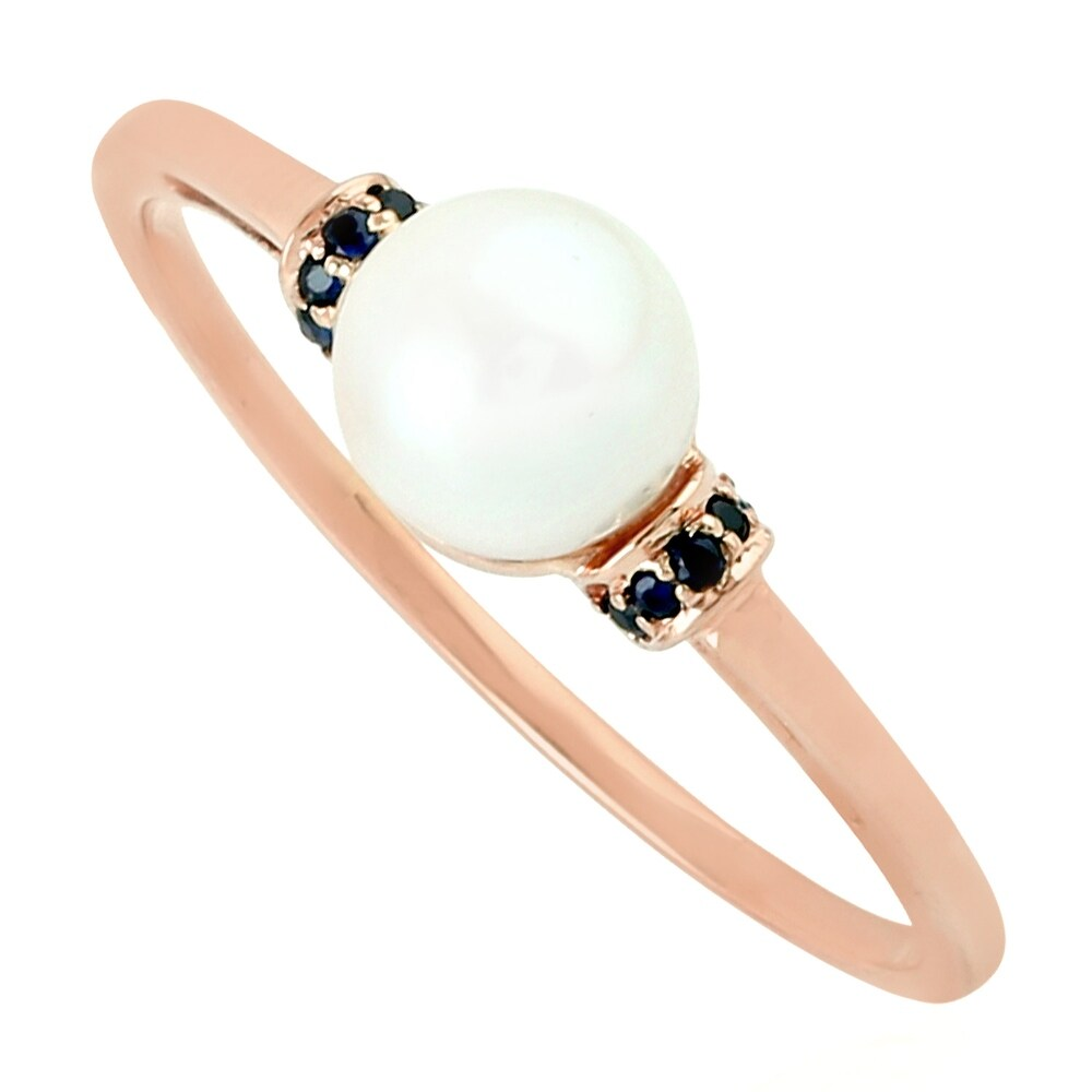 10K Rose Gold Designer Ring Pearl Sapphire Pearl Jewelry Black Friday Sale (White)