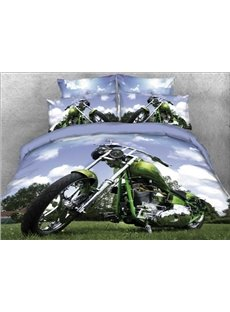 Harley Motorcycle Parking on Lawn 4-Piece 3D Bedding Sets/Duvet Covers