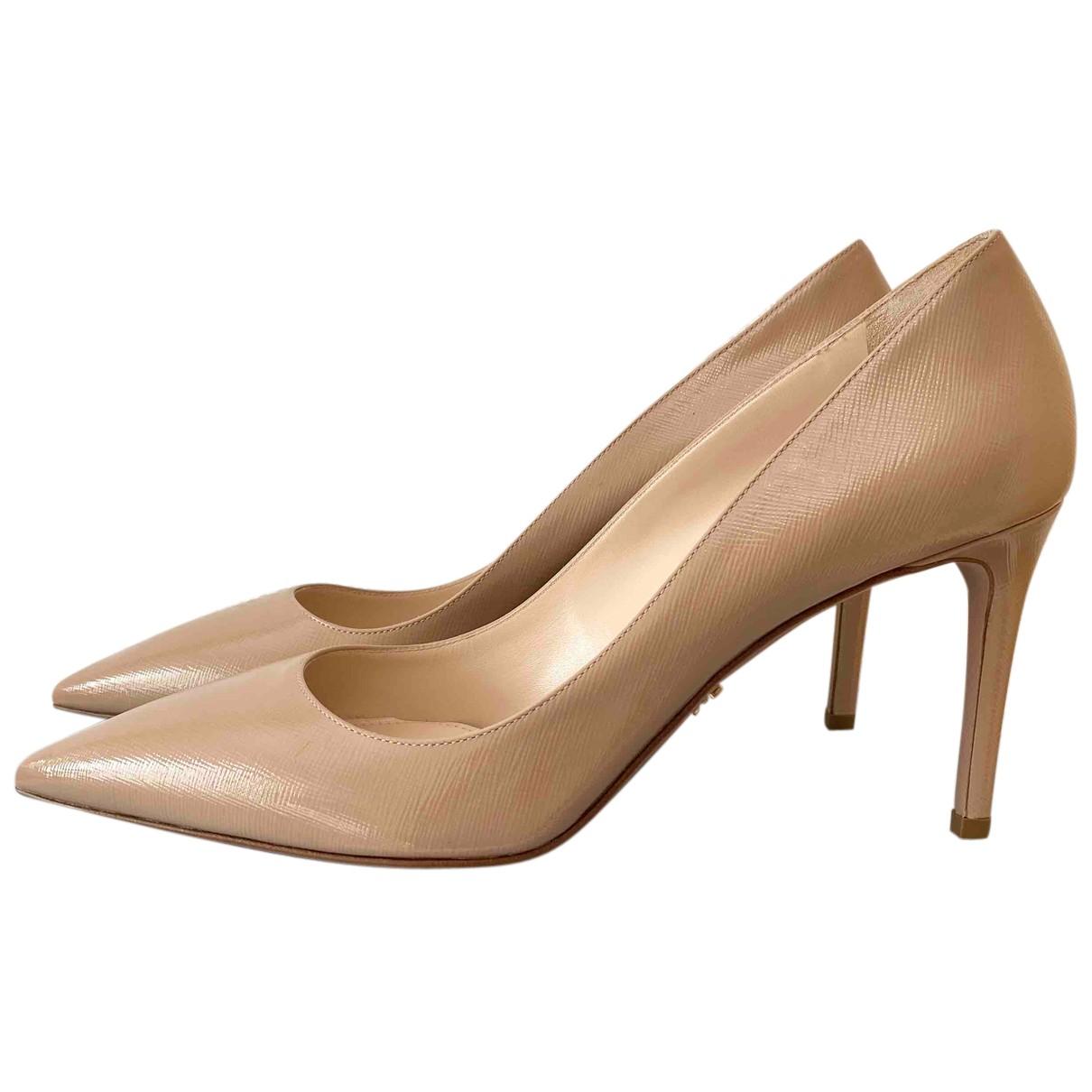 Prada N Camel Leather Heels for Women 40.5 EU