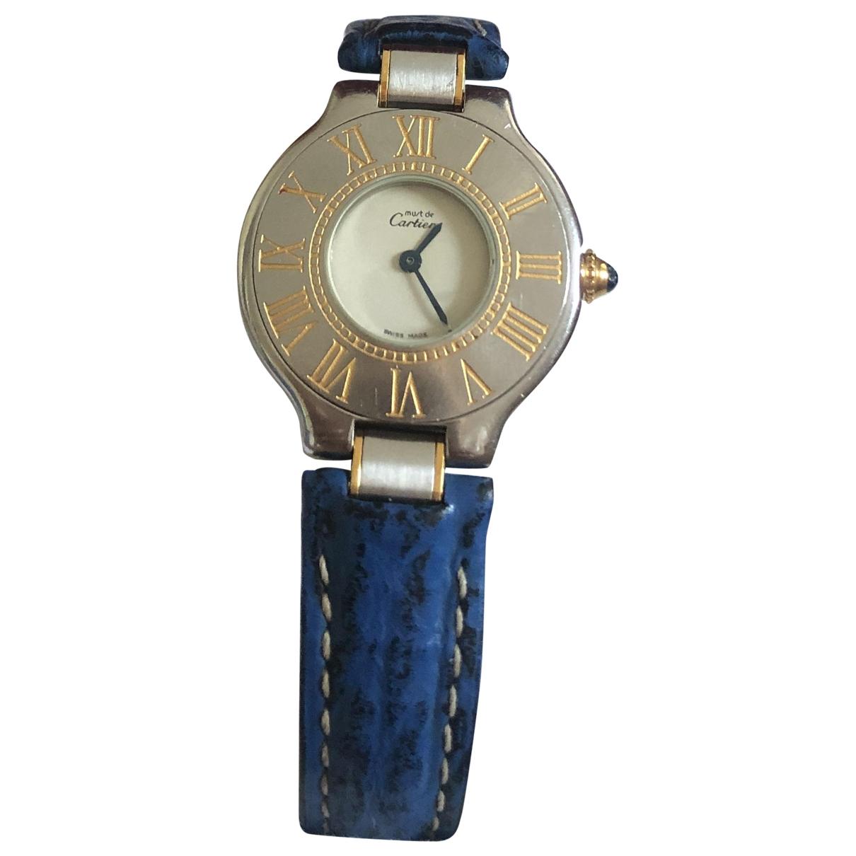 Cartier Must 21 Uhr in  Blau Gold und Stahl