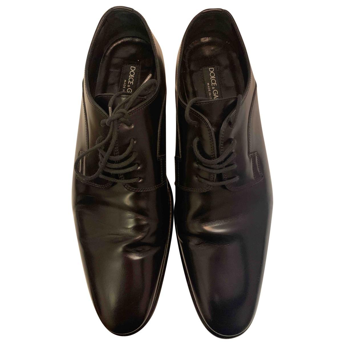Dolce & Gabbana - Derbies   pour homme en cuir verni - noir