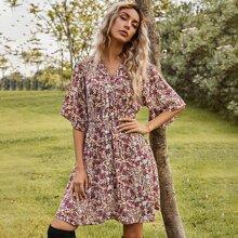 Ditsy Floral Print Button Front A-line Dress