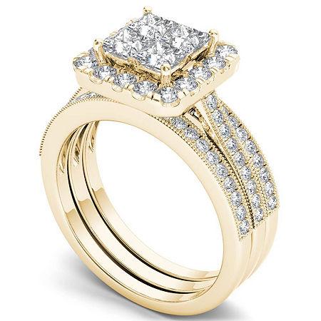 Womens 1 1/2 CT. T.W. Genuine White Diamond 14K Gold Bridal Set, 6 1/2 , No Color Family