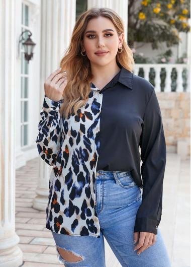 Leopard Button Up Plus Size Shirt - L