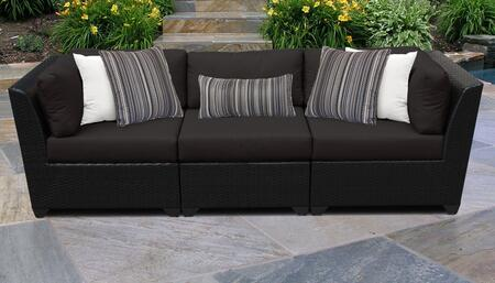 Barbados Collection BARBADOS-03c-BLACK 3-Piece Patio Sofa with 2 Corner Chairs and 1 Armless Chair - Wheat and Black