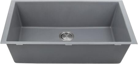 PR3320-UM Plymouth Collection 33 Undermount Sink with Single Bowl  Rectangular Shape  Sound Absorption  Stain Resistant and Granite Composite