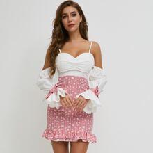 Vestido ribete fruncido floral de margarita de color combinado