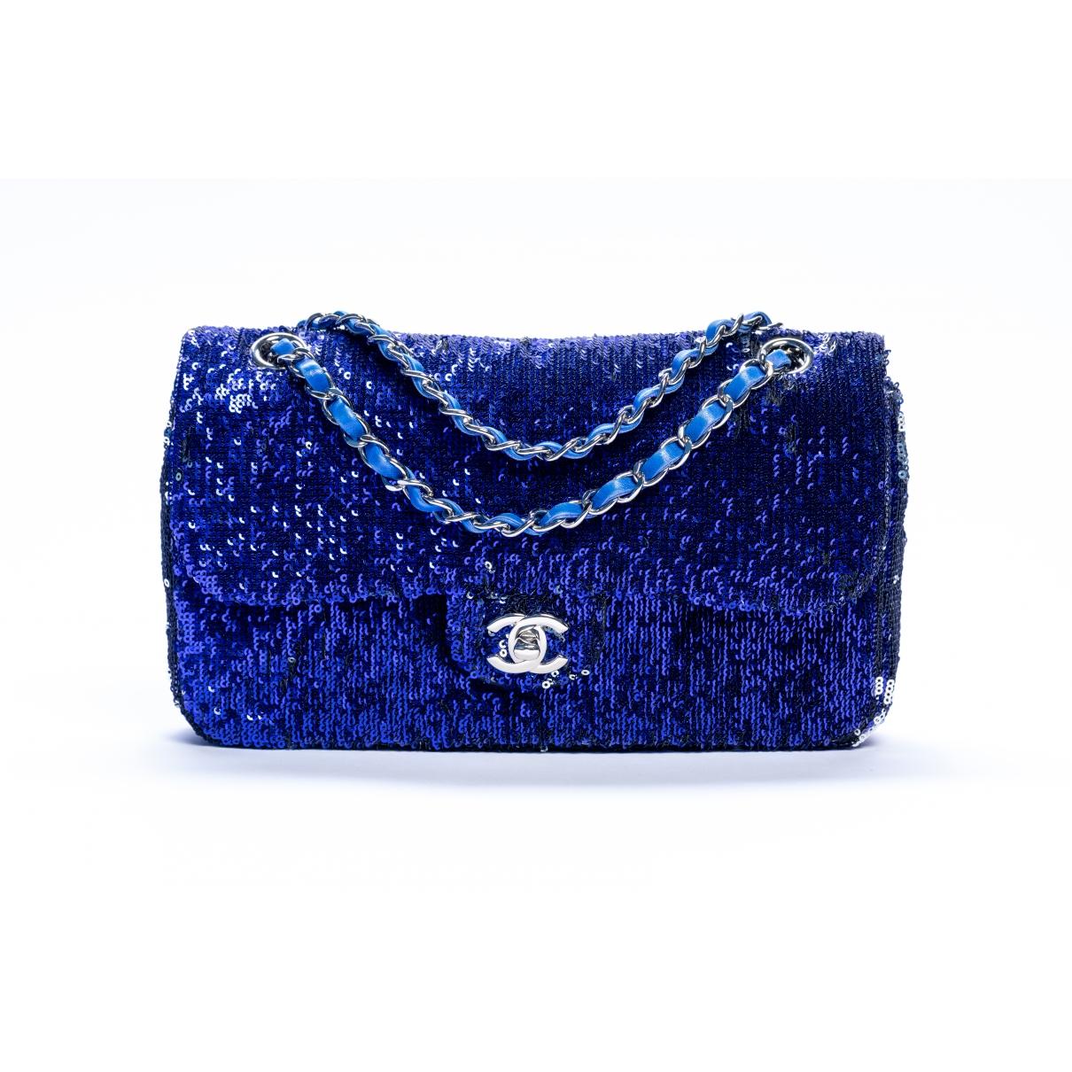 Chanel Timeless/Classique Navy Glitter handbag for Women \N