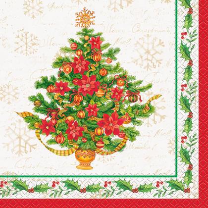 Festive Poinsettia Christmas Luncheon Napkins, 16ct