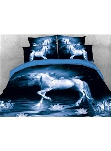 The Unicorn On The Surface Of A Calm Dark Lake 3D Printed 4-Piece Polyester Bedding Sets/Duvet Covers