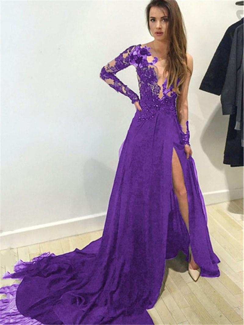 Ericdress Scoop Neck Appliques Split-Front Evening Dress