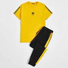 T-Shirt mit Streifen & Buchstaben Grafik & Hose mit Kontrast Naht