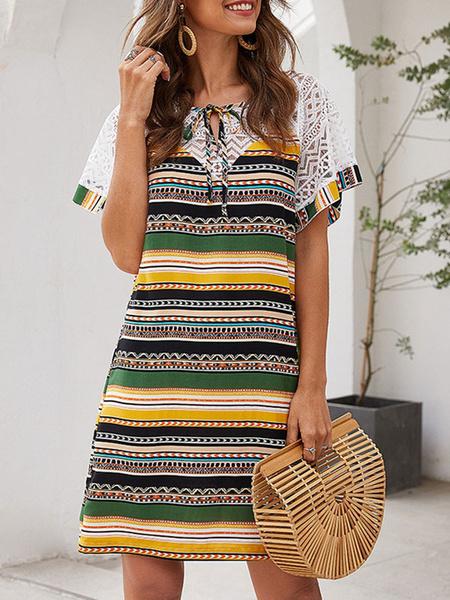Milanoo Vestido de verano Vestido de playa de mezcla de algodon estampado con cuello en V amarillo