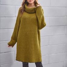 Pullover mit Stehkragen und Schlitz
