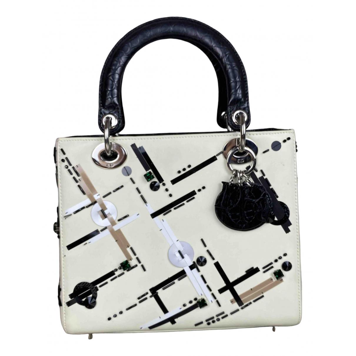 Dior Lady Dior Handtasche in  Weiss Leder