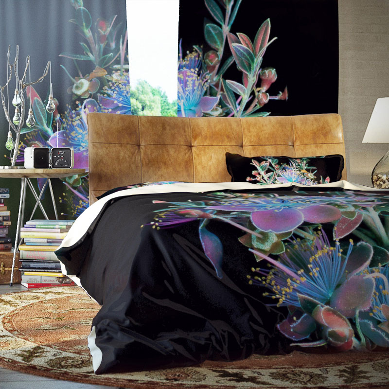 Dark Flower Three-Piece Set Duvet Cover Set Reactive Printing Polyester Bedding Sets