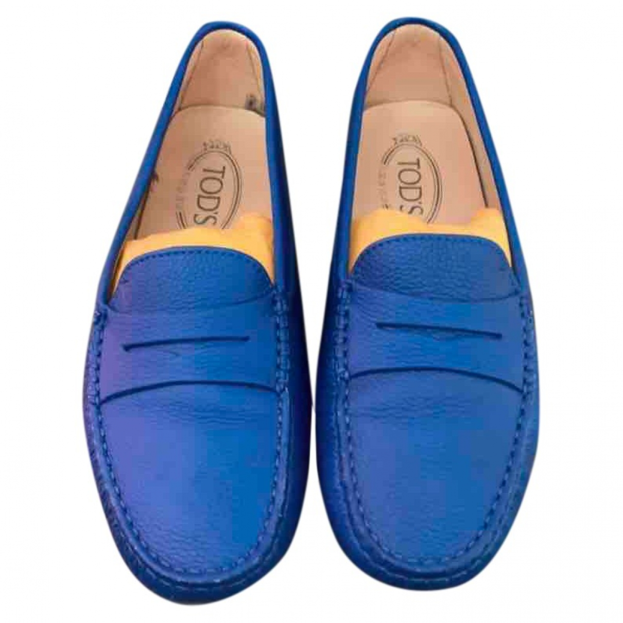 Tod's Gommino Blue Leather Flats for Women 38 EU