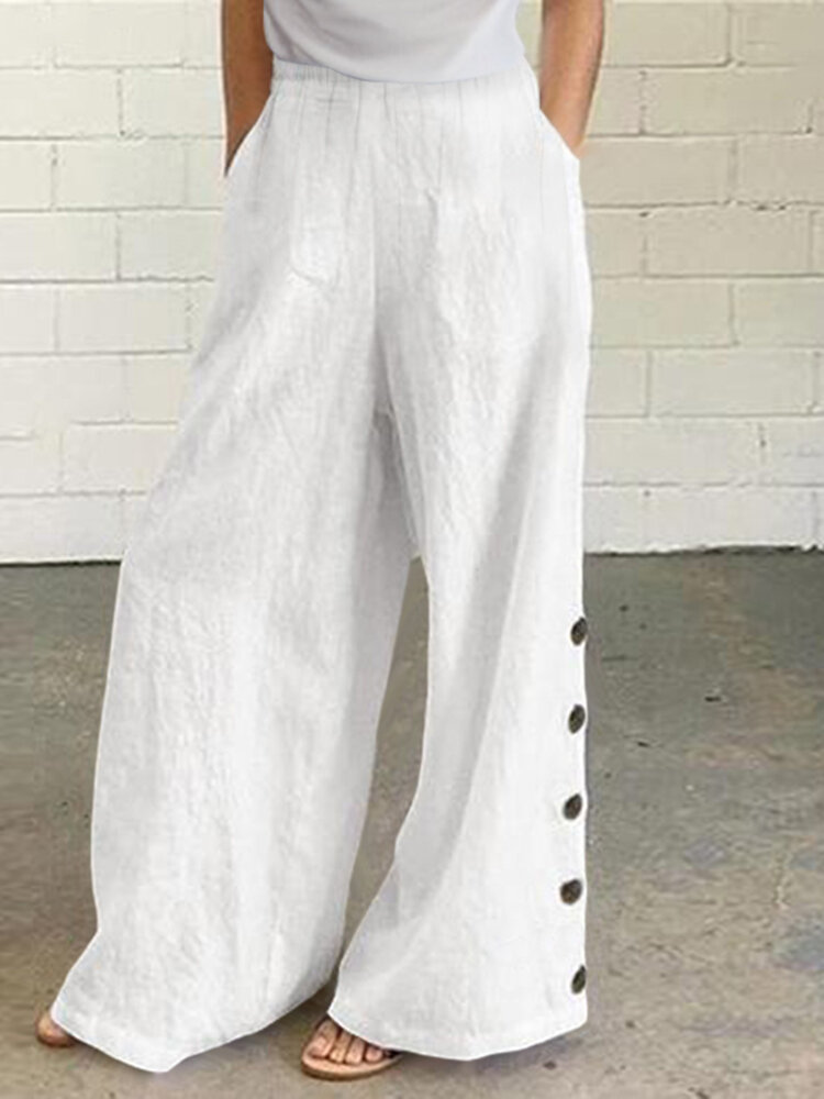 Solid Color Button Casual Pants With Pocket For Women
