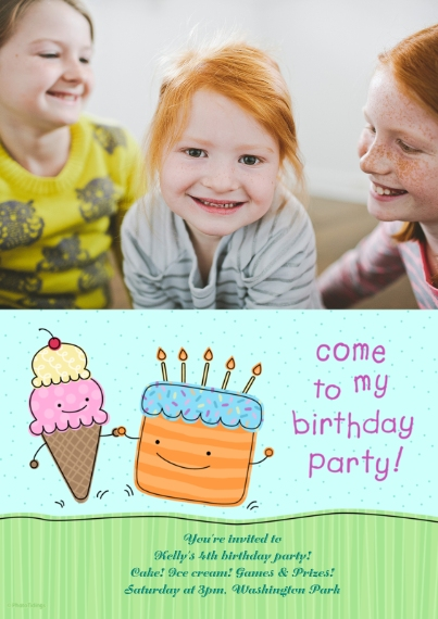Birthday Party Invites Flat Glossy Photo Paper Cards with Envelopes, 5x7, Card & Stationery -Birthday Party