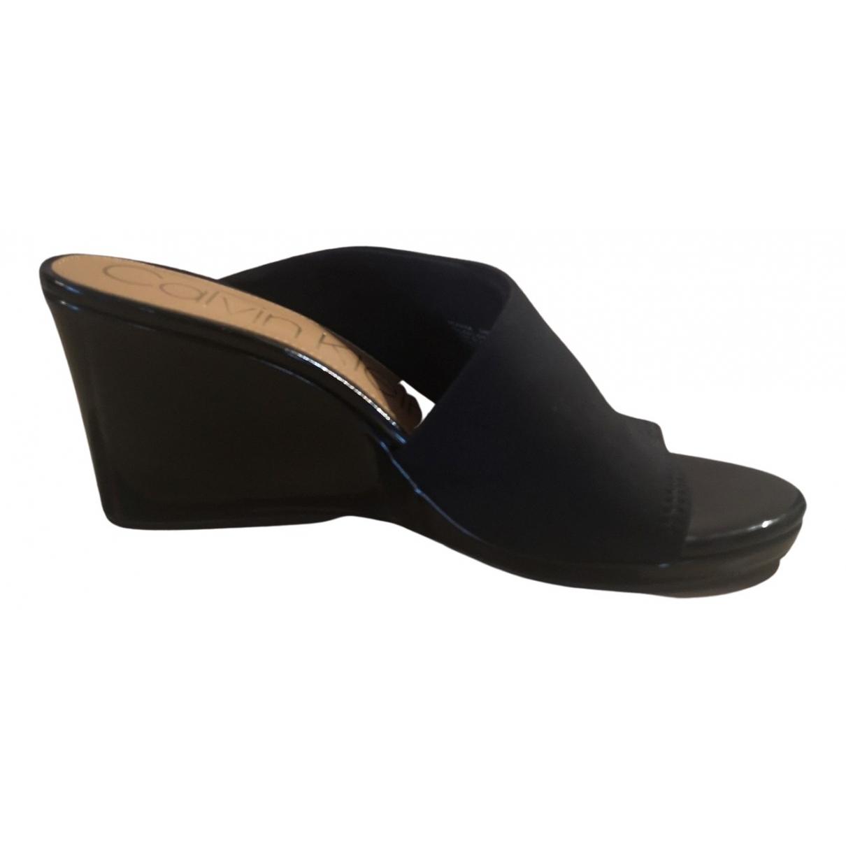 Calvin Klein - Sandales   pour femme en toile - noir