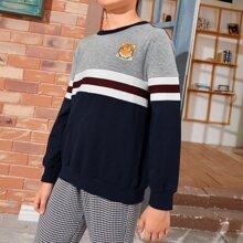 Pullover mit Farbblock und Tier & Streifen Muster