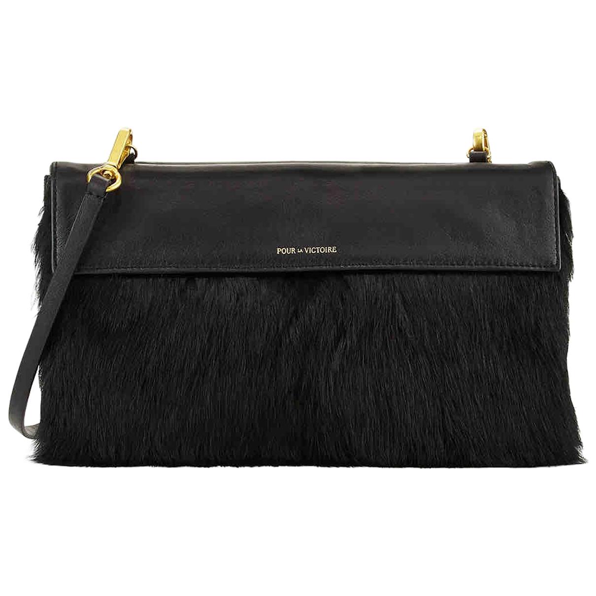 Non Signe / Unsigned \N Handtasche in  Schwarz Kaninchen