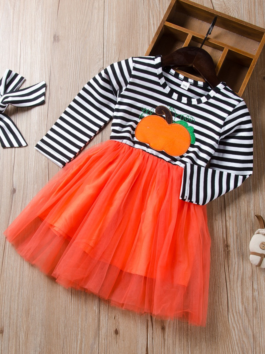 LW lovely Leisure O Neck Striped Patchwork Yellow Girl Knee Length Dress
