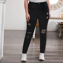 Plus High Waist Contrast Leopard Jeans