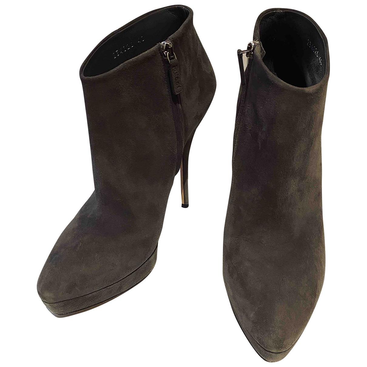 Gucci - Bottes   pour femme en suede - gris