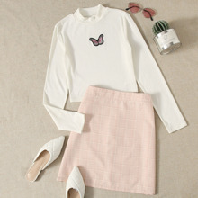 Butterfly Embroidery Tee & Plaid Skirt