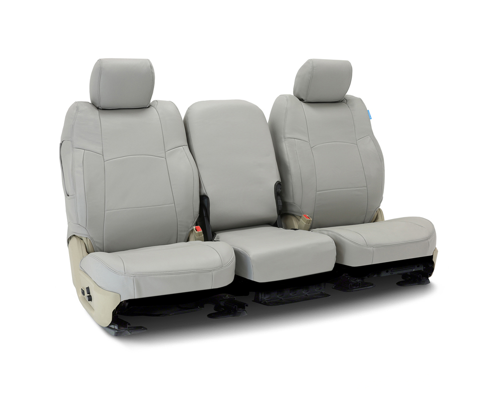 Coverking CSC1L3FD8045 Custom Seat Covers 1 Row Genuine Leather Gray Front Ford F-150 2009-2010