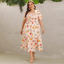 Plus Letter & Lemon Print Shirred Dress