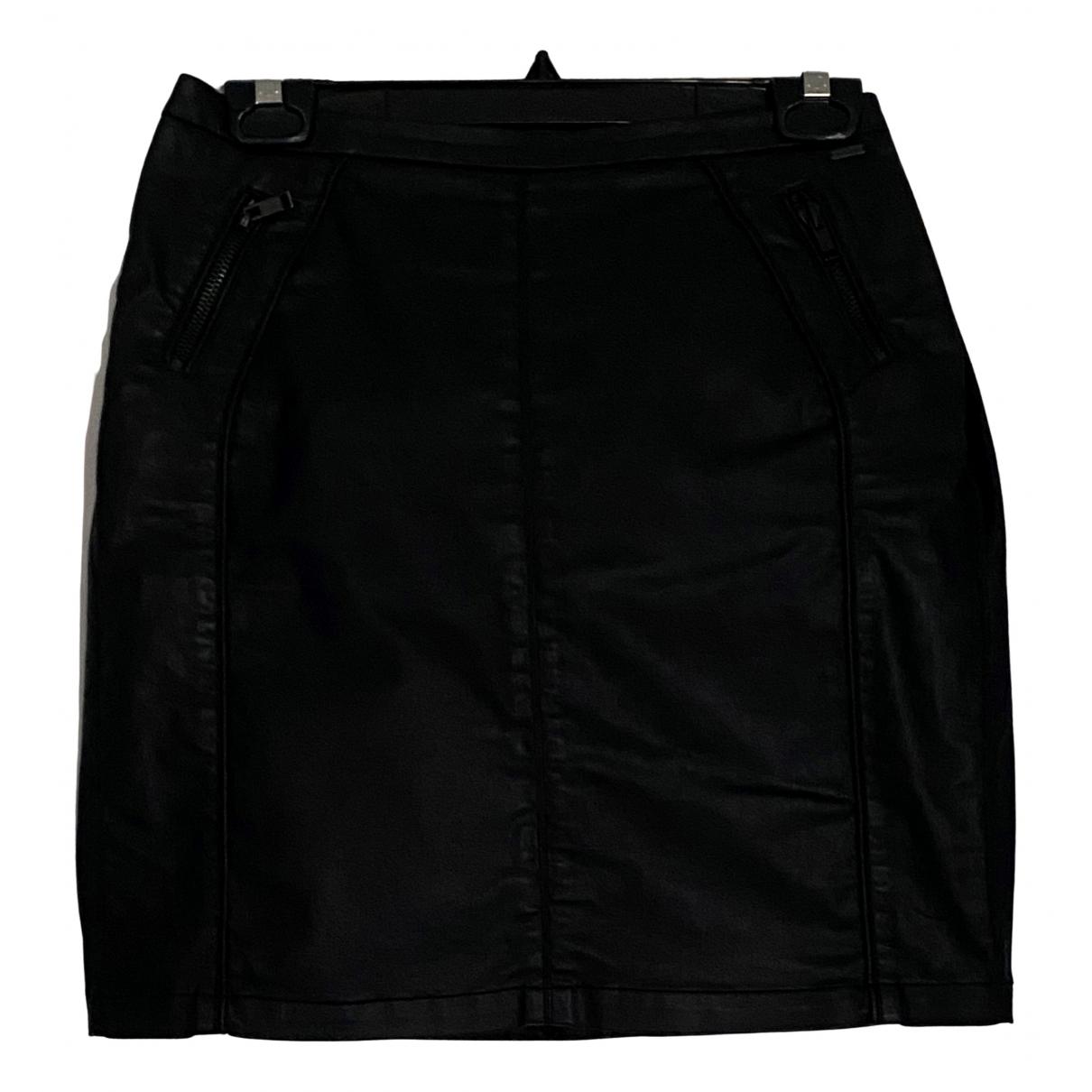 Ikks N Black Cotton - elasthane skirt for Women 40 FR