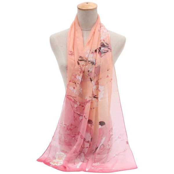 Women Chiffon Oversize Shawl Casual Sunscreen Windproof Scarves Print Scarces