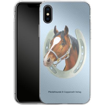 Apple iPhone X Silikon Handyhuelle - Pferdefreunde Hufeisen Blau von Pferdefreunde