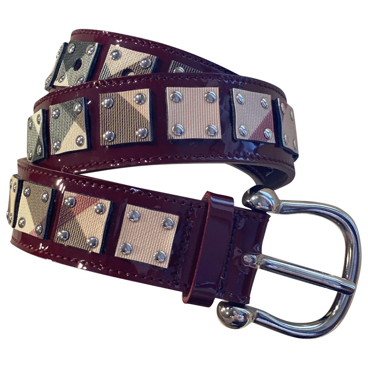 Burberry \N Burgundy Patent leather belt for Women 80 cm