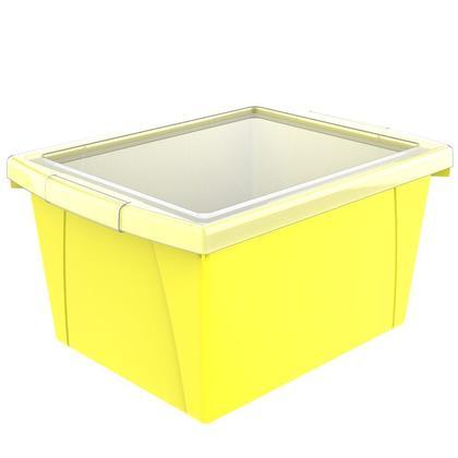 Storex® 4 Gallon/15 L, Classroom Storage Bin with Lid - Yellow