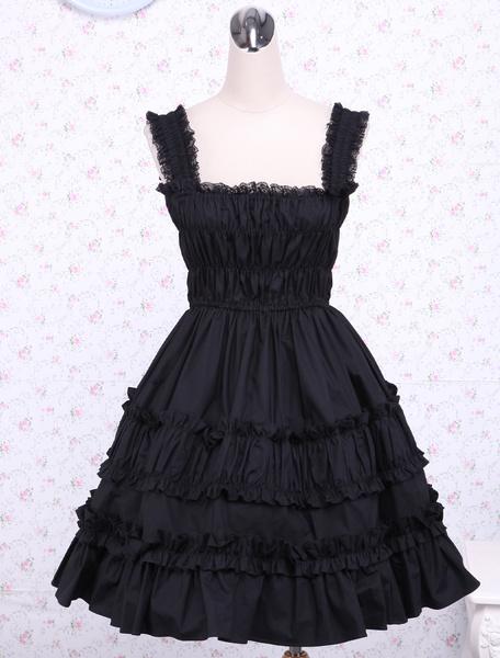Milanoo Pichi de lolita negro gotico de algodon con tirantes con volante fruncido