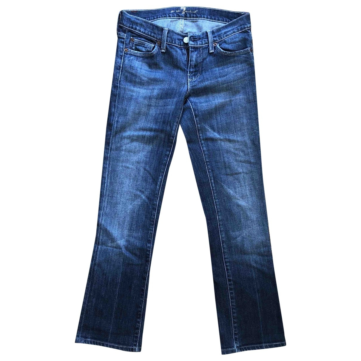 7 For All Mankind \N Blue Cotton - elasthane Jeans for Women 25 US
