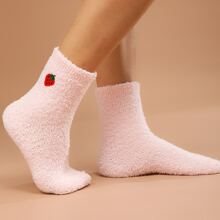 Strawberry Embroidered Fuzzy Socks