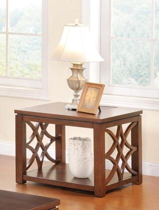 Henry Collection 5957-ET End Table with Bottom Shelf  Block Feet  Solid Hardwood Construction  MDF  Birch Veneer and Poplar Material in Cherry
