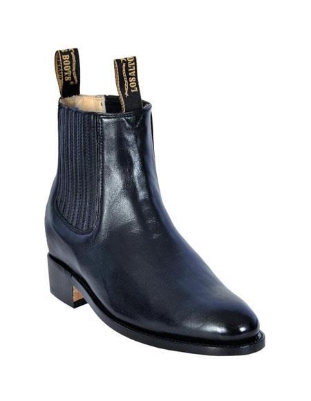 Los Altos Charro Botin Short Ankle Deer Black Leather Boots For Men