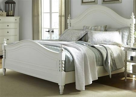 Harbor View II Collection 631-BR-QPS Queen Poster Bed with Center Supported Slat System  Turned Feet and Distressing in Linen