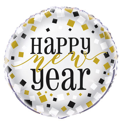 Black, Gold, Silver New Year Round Foil Balloon, 18 in