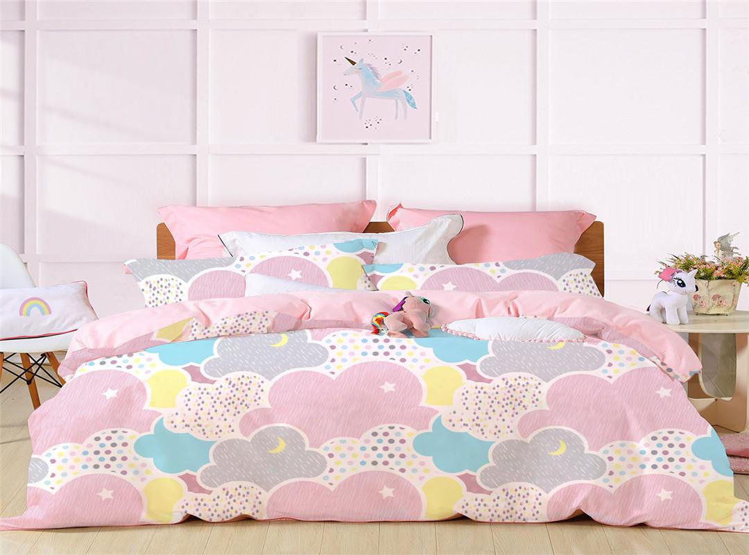 Colorful Clouds Print Princess Style Pink  Duvet Covers Bedding Sets Four-Piece Set Polyester Bedding Sets Endurable